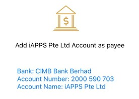 photo showing iAPPS CIMB bank account details