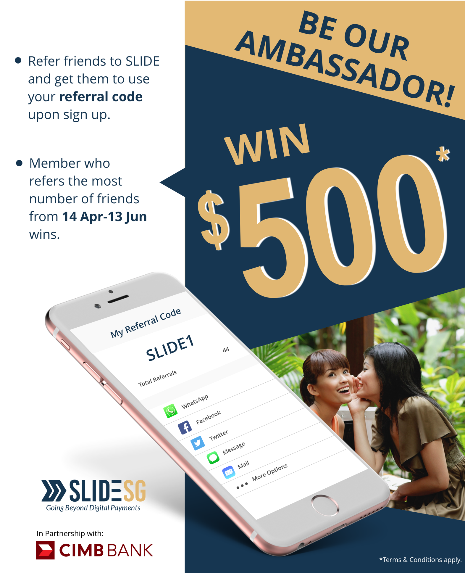 design poster for SLIDE Top Ambassador Promo in partnership with CIMB bank