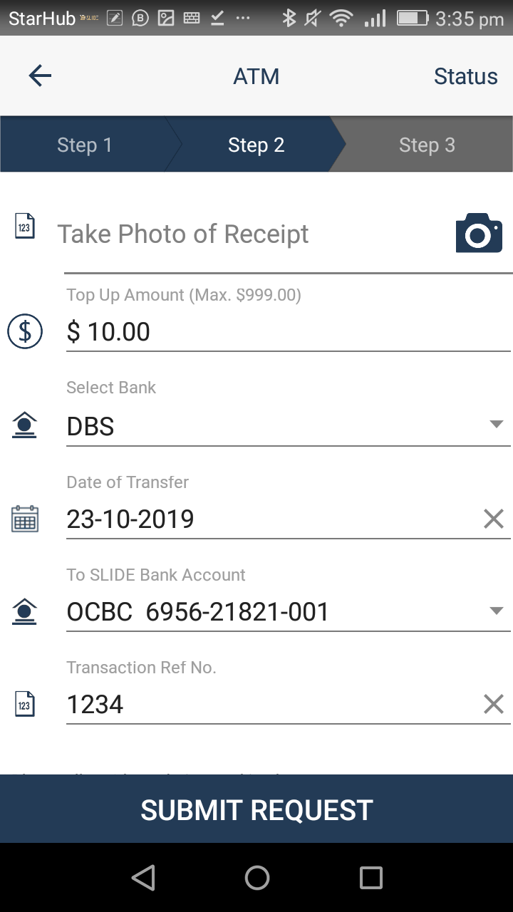 screenshot of ATM top up request form in SLIDE member app